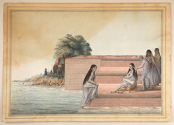 Woman bathing. A lady of rank is seated on steps leading to a river; her hair is being dried by an old lady.